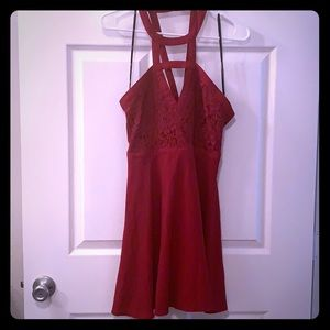 Lulu's medium red dress with lace top